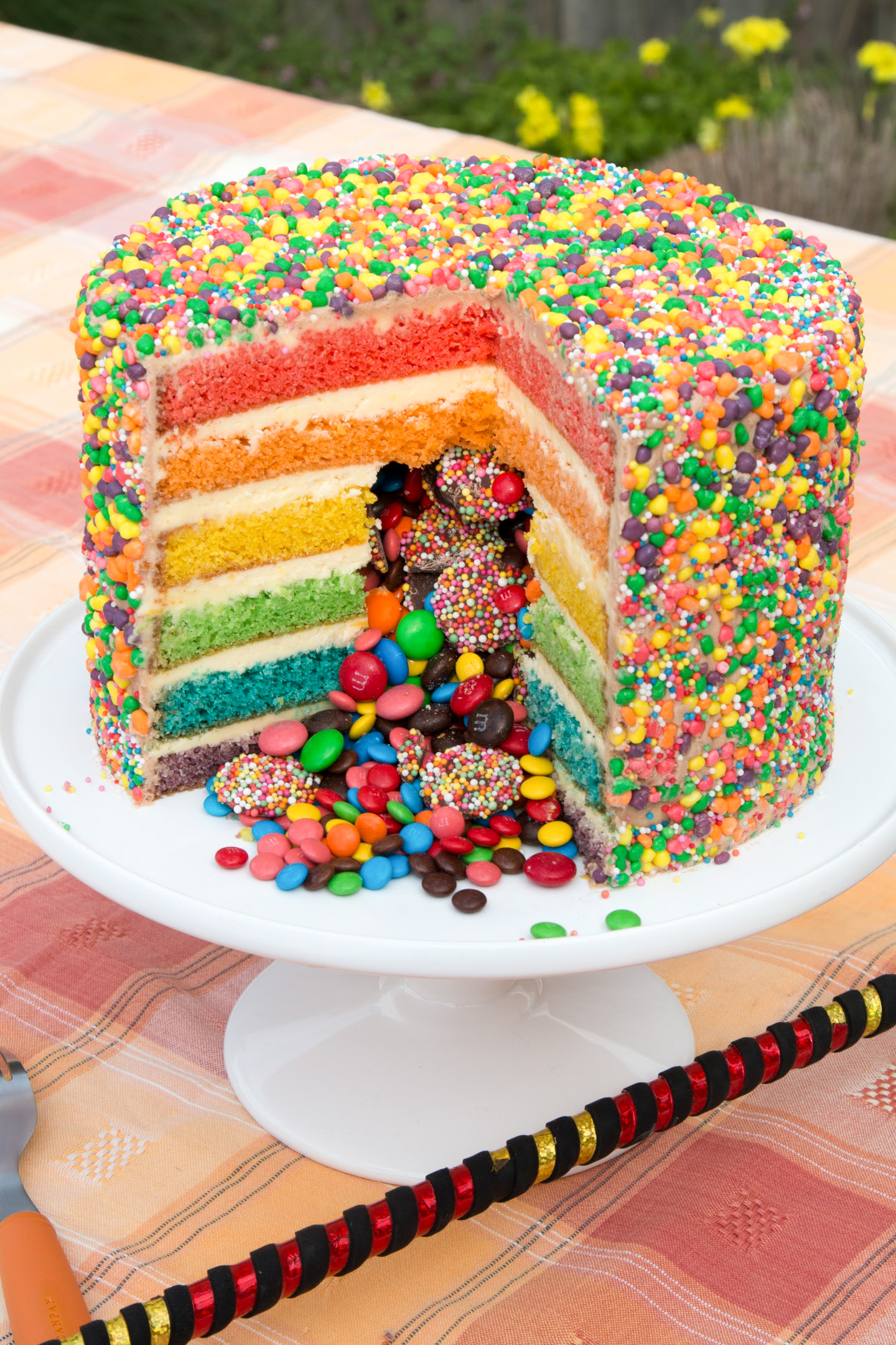Rainbow Pinata Cake Easy Cake Batter Steve S Kitchen