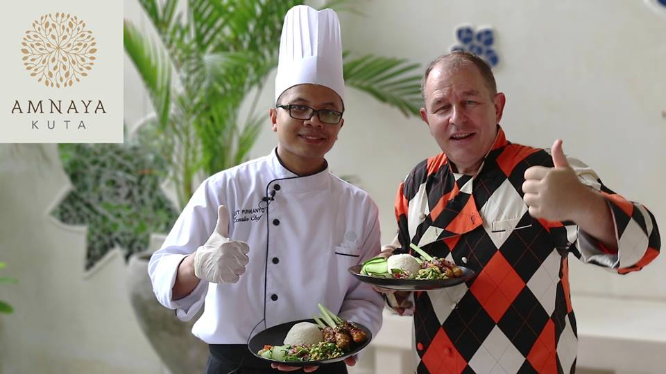 Steve and Sigit Purwanto make Balinese Satay Lilit